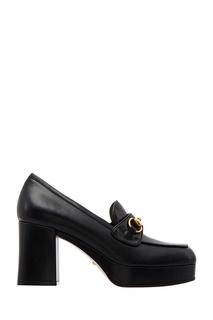 Черные кожаные туфли Horsebit Gucci
