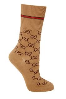 Бежевые носки с фирменным мотивом GG Gucci