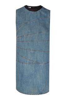 Джинсовое платье с атласной отделкой Miu Miu