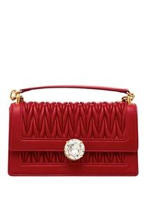 Красная стеганая сумка Miu Solitaire