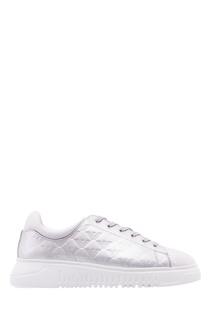 Бело-серебристые стеганые кеды Emporio Armani