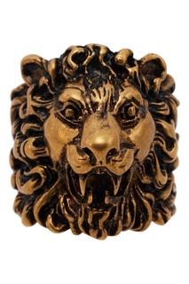 Золотистое кольцо с головой льва Gucci