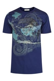 Синяя футболка с узорами Etro
