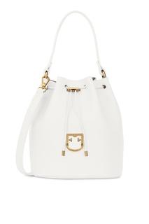 Белая кожаная сумка Corona Furla