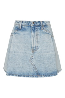 Голубая джинсовая мини-юбка со складками Alexander Wang