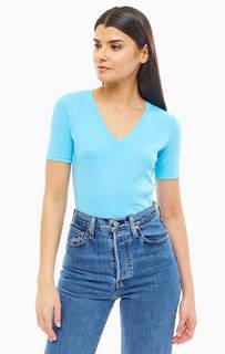 Голубая футболка из хлопка с треугольным вырезом United Colors of Benetton