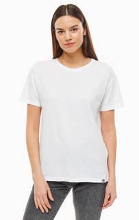Хлопковая футболка белого цвета с вышивкой Superdry