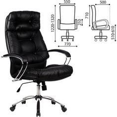 Кресло офисное Metta LK-14CH кожа, хром, черное, ш/к 87226