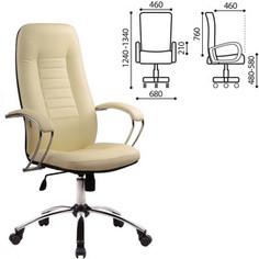 Кресло офисное Metta BK-2CH кожа, хром, бежевое, ш/к 82253