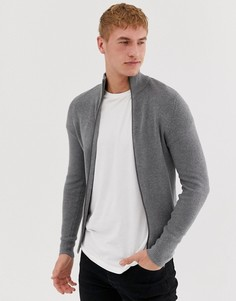 Кардиган в рубчик на молнии Jack and Jones essentials - Серый