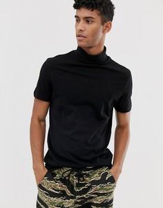 Черная футболка с короткими рукавами и отворачивающимся воротником ASOS DESIGN - Черный