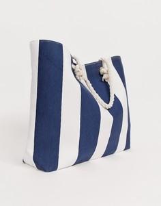 Пляжная сумка в вертикальную полоску South Beach - Темно-синий