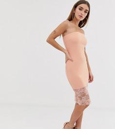 Платье-бандо с кружевной отделкой телесного цвета Boohoo Petite - Розовый
