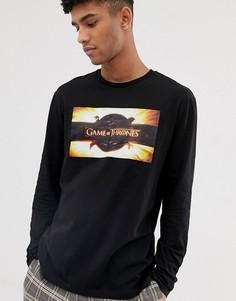 Свободная футболка с длинными рукавами и принтом ASOS DESIGN - Черный