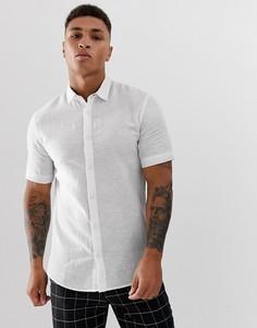 Белая рубашка с короткими рукавами из ткани с добавлением льна Only & Sons - Белый