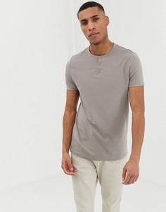Бежевая футболка из органического хлопка с короткими рукавами и планкой на пуговицах ASOS DESIGN - Бежевый