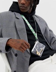 Кошелек на шею с ремешком и надписью ASOS DESIGN - Белый