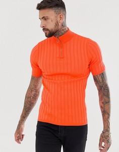 Оранжевая трикотажная футболка в рубчик с короткой молнией ASOS DESIGN - Оранжевый