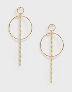 Серьги-кольца с цепочкой Nylon - Золотой