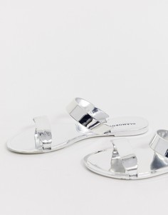 Серебристые зеркальные шлепанцы с двумя ремешками Glamorous - Серебряный