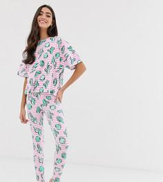 Пижама с леггинсами в полоску и с принтом кактусов ASOS DESIGN Tall - Мульти