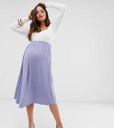 Короткая расклешенная юбка миди ASOS DESIGN Maternity - Синий