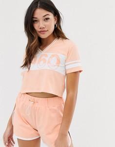Укороченная футболка персикового цвета в университетском стиле с V-образным вырезом Lonsdale - Розовый