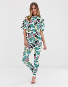 Пижама с принтом пальм и туканов ASOS DESIGN - Мульти