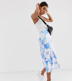 Атласная юбка с принтом тай-дай Reclaimed Vintage Inspired - Мульти