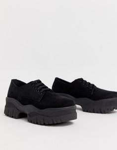 Туфли со шнуровкой на массивной плоской подошве ASOS DESIGN Magnum - Черный