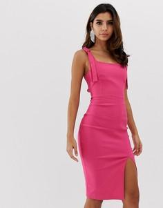 Облегающее платье с разрезом спереди и квадратным вырезом Vesper - Розовый