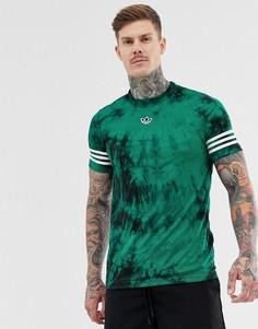 Футболка с принтом тай-дай, полосками и логотипом adidas Originals - Зеленый