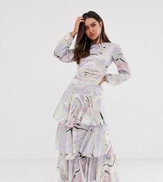 Ярусное платье миди с длинными рукавами и принтом True Violet - Мульти