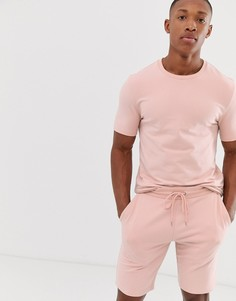 Розовый облегающий спортивный костюм (свитшот с короткими рукавами/шорты) ASOS DESIGN - Розовый