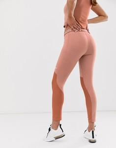 Розово-золотистые меланжевые леггинсы Nike Pro Training - Розовый