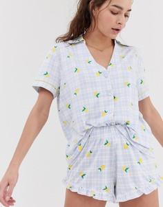 Пижама в клетку с принтом лимонов Chelsea Peers - Мульти