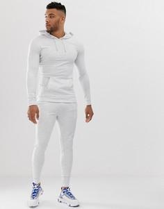 Белый меланжевый спортивный костюм облегающего кроя из худи и джоггеров ASOS DESIGN - Белый