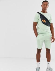 Зеленый облегающий спортивный костюм (свитшот с короткими рукавами/шорты) ASOS DESIGN - Зеленый