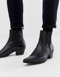 Черные кожаные ботинки в стиле вестерн на кубинском каблуке со вставками в виде молний ASOS DESIGN - Черный