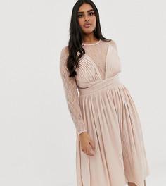 Платье миди с кружевом и складками ASOS DESIGN Curve - Розовый