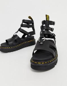 Черные кожаные гладиаторские сандалии на толстой подошве Dr Martens Adaira - Черный