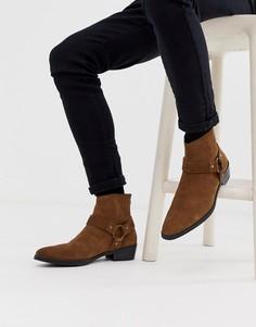 Светло-коричневые замшевые ботинки челси в стиле вестерн на кубинском каблуке с пряжкой ASOS DESIGN - Рыжий