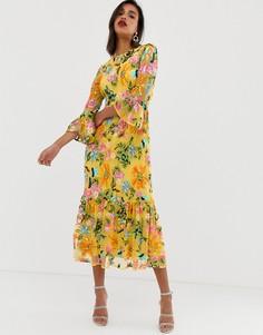 Платье миди с оборкой по нижнему краю, вышивкой и отделкой бисером ASOS EDITION - Желтый