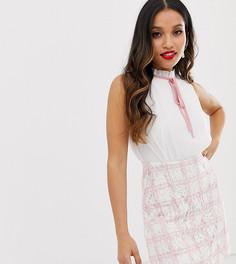 Розовое платье мини 2 в 1 с шифоновым топом и юбкой в клетку Paper Dolls Petite - Розовый