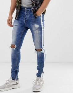 Выбеленные джинсы скинни с лампасами Sixth June - Синий