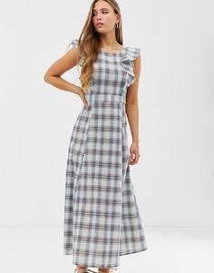 Платье макси в клетку с пышной юбкой Glamorous - Мульти