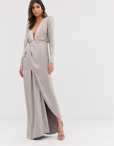 Атласное платье макси с разрезом сбоку ASOS EDITION - Серебряный