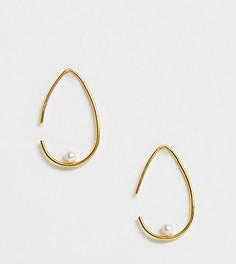Серьги-протяжки из позолоченного серебра с жемчугом ASOS DESIGN - Золотой