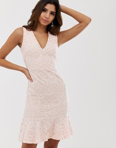 Облегающее платье с цветочным узором и оборкой по краю Vesper - Розовый