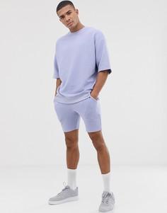 Сиреневый спортивный костюм в рубчик с шортами ASOS DESIGN - Фиолетовый